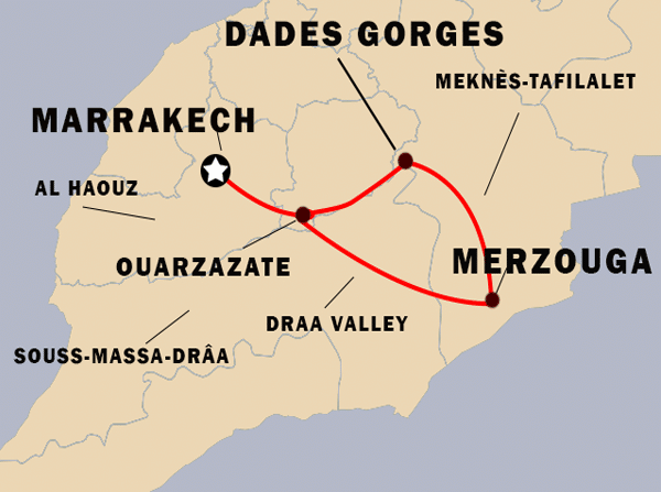 3-days-marrakech-desert-tour-map